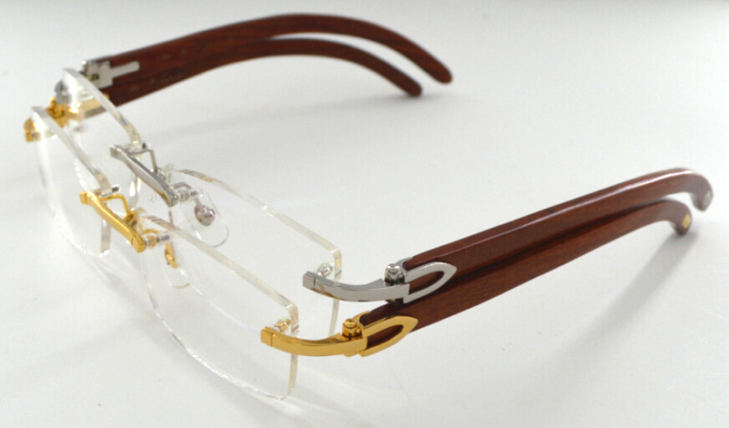 Wooden Arms Eyeglasses Frames 3524012 for Men with logo Optical Glasses Frame Rimless Wooden Glasses Eyewear(China (Mainland))