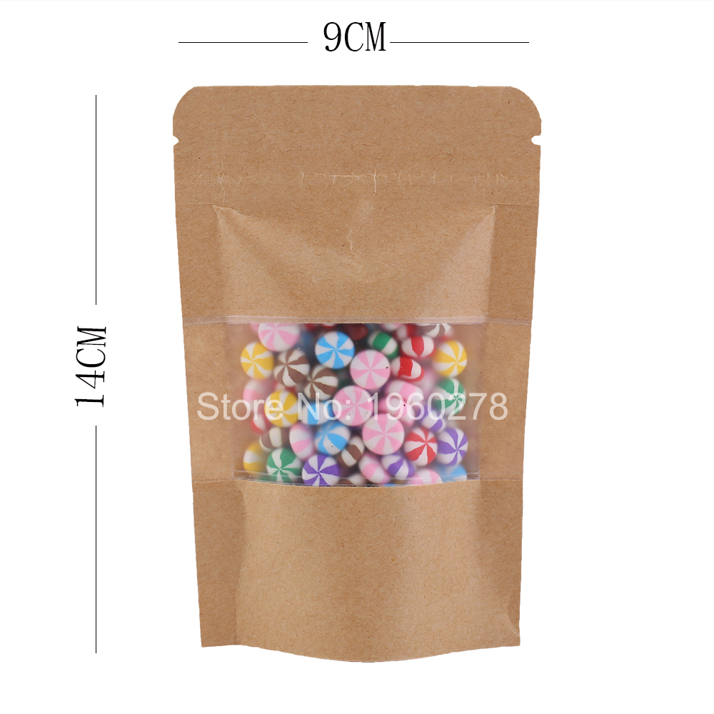 viewing window herb bag stand up brown silver ziplock pouch 9x14cm kraft paper bag with window 100pcs#A4831(China (Mainland))