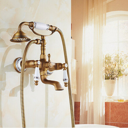 Antique bath faucet shower bronze porcelain shower faucet bathroom telephone bath faucet with hand shower bathroom shower tap(China (Mainland))
