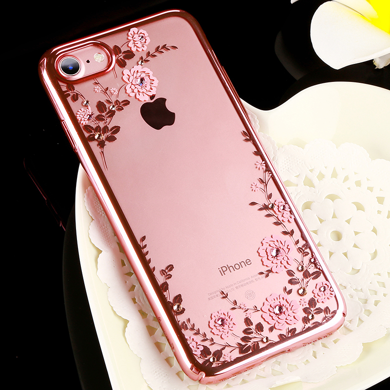 Original KAVARO Flower Diamond Case With Crystals from Swarovski For iPhone 7/ Plus Luxury Electroplating Hard Back Cover Cases(China (Mainland))