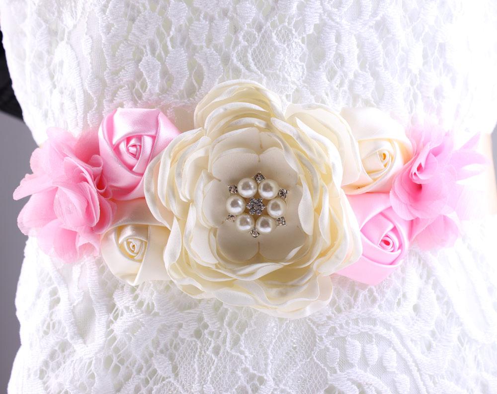 Bridal Sash Wedding girl women Belt Pearl and Rhinestone Belt Shabby Chiffon Flower Bridesmaid Dress Sash Accessories 1pc(China (Mainland))