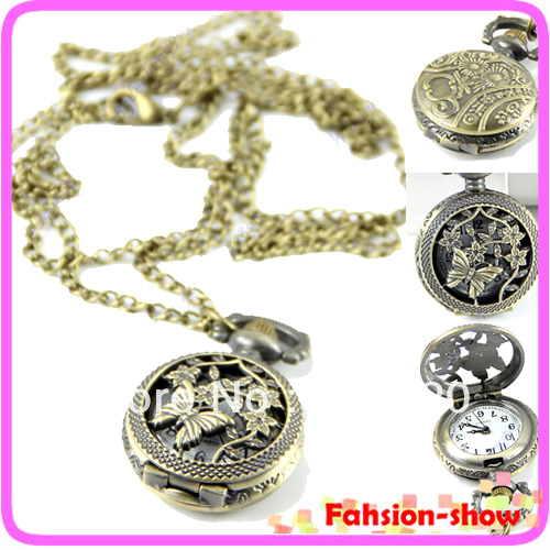 Delicate Vintage Women Ladies Christmas Gift Butterfly Flower Skeleton Quartz Pocket Watch Necklace steampunk Free