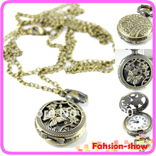 Delicate Vintage Women Ladies Christmas Gift Butterfly Flower Skeleton Quartz Pocket Watch Necklace steampunk Free Shiping