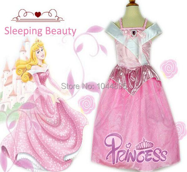 New 2015 Summer Kids Baby Girl Sleeping Beauty Dress Kids Cosplay Costumes Girls Princess Dress Perform Clothes,Fantasias(China (Mainland))
