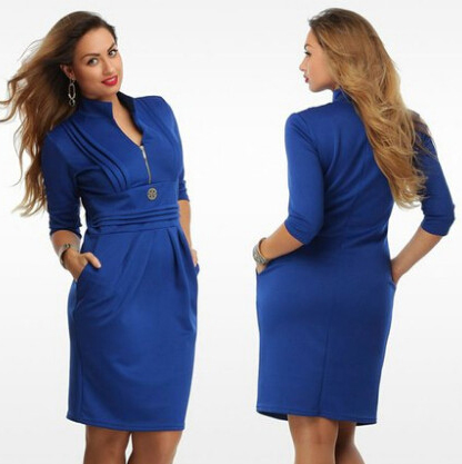 2015 6Xl Women Blue Plus Size Dress Straight With Zipper Sexy Dress V Neck Knee High Casual Work Dresses 2Xl 3Xl 4Xl 5Xl 6Xl