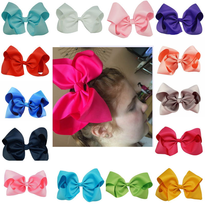 8 inch Big Hair Bow Boutique Solid Grosgrain Ribbon Hairgrips Hair Clips Headwear Barrette Bowknot For Women Girls Accessories(China (Mainland))