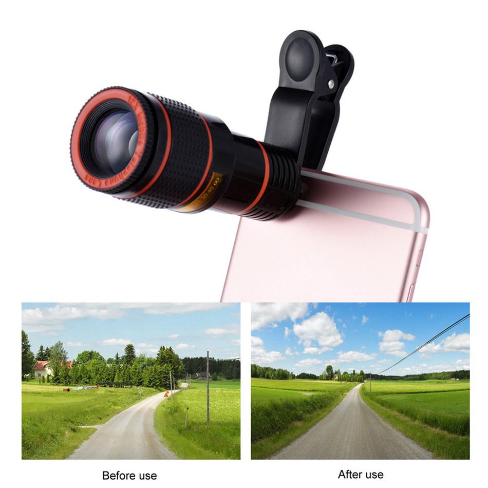 12X Telephoto Zoom Lens Microscope Telescope Mobile Tripod Monopod Fish eye Wide Angle Macro Lenses For iPhone 5 6 7 Plus Xiaomi