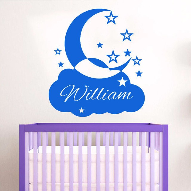 Customized Personalized Name Wall Stickers Clouds Moon And Stars Decorative Wall Decals Vinyl Babys Room Adhesive Wallpapers