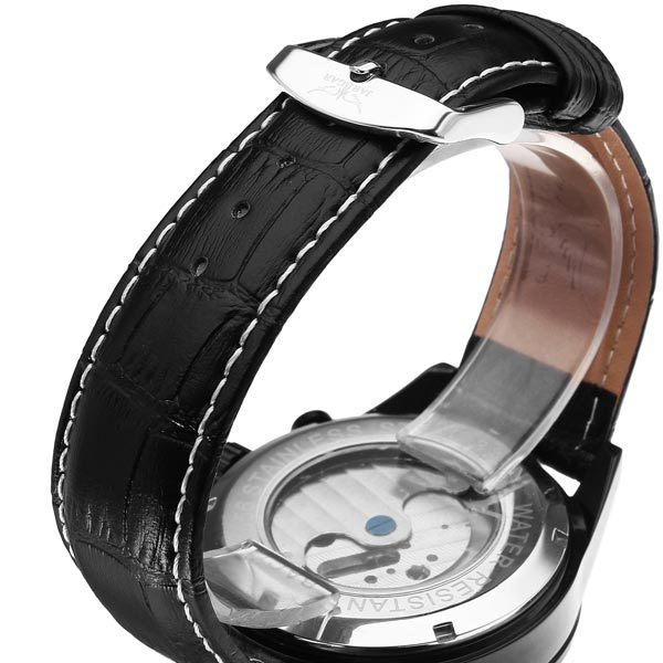 JARAGAR Brand Luxury Automatic Mechanical Tourbillon White Black Men Wrist Watch Men s Watches 2016 New