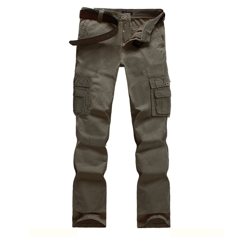 2015 Mens Fashion Military Multi Pocket Cargo Pants Casual Straight Long Baggy Outdoor Trousers Large Size Slim Fit Work Pants