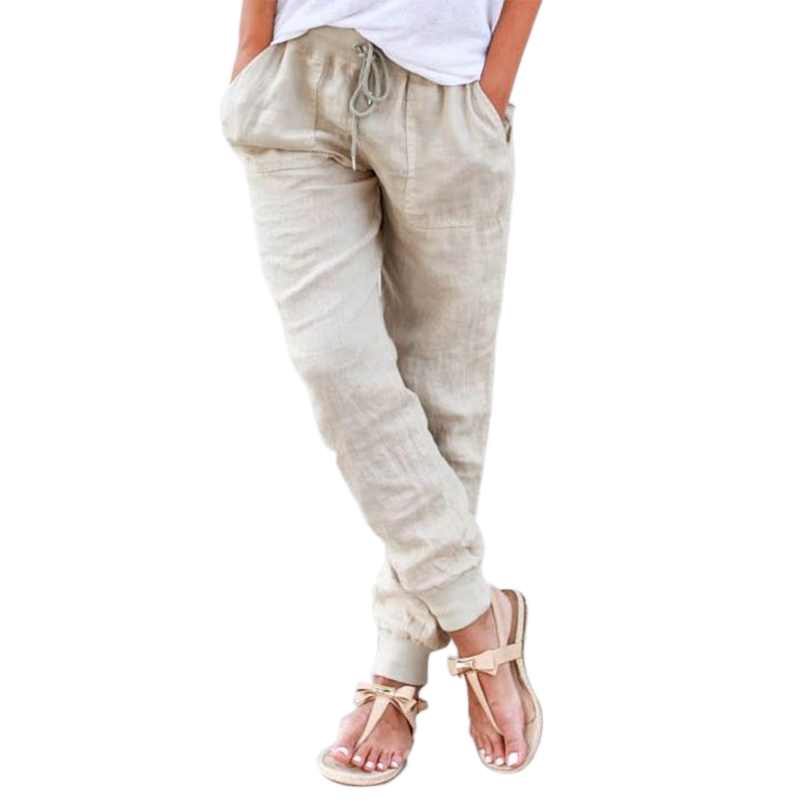 High Waist Cotton Elastic Waist Casual Women Linen Pants 2016 ...