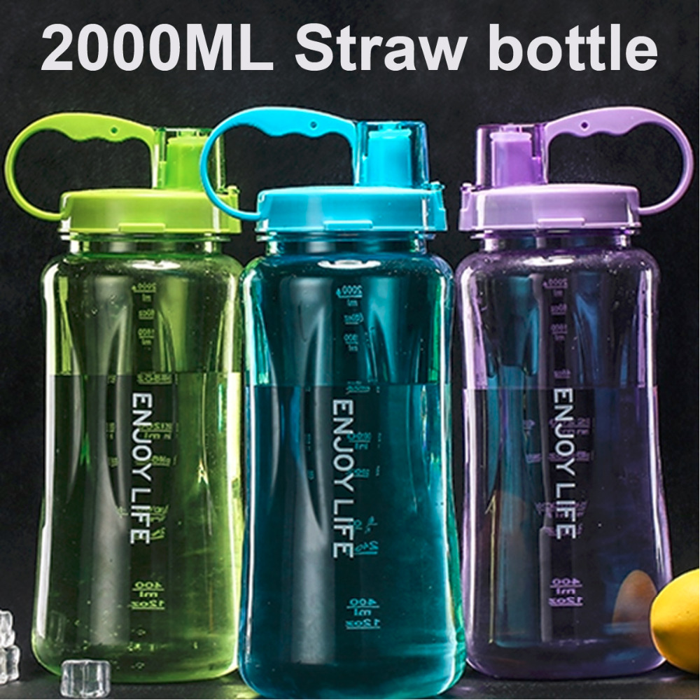 4 Color 1000/2000ml handgrip straw type sports food grade plastic adults water bottle space cup(China (Mainland))