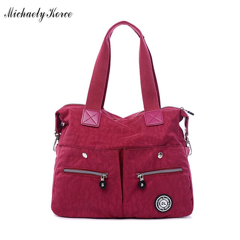 ANNY New Designer 2016 Brand Dark Red Ladies Handbag Waterproof Nylon Women Rivets Tote Bags Large Travel Shoulder Crossbody Bag(China (Mainland))