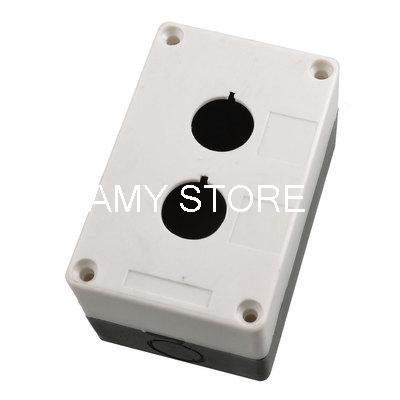 Black White Double Holes Pushbutton Switch Control Station Box(China (Mainland))