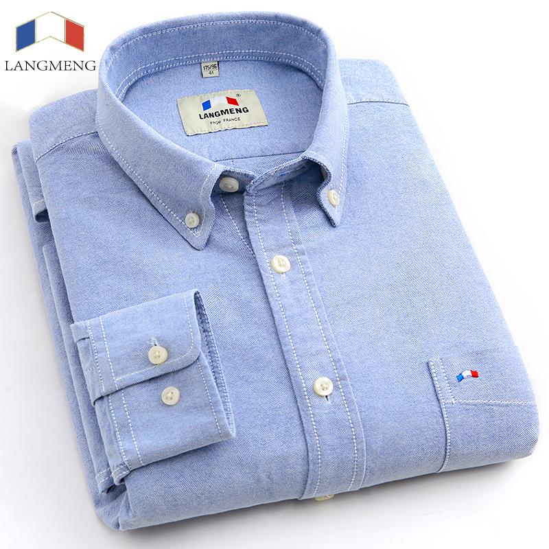 Langmeng 2016 brand 100% cotton solid striped shirt men spring casual shirts oxford dress shirt camisa masculina white black(China (Mainland))