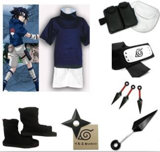 Cosplay Costume Naruto Sasuke Uchiha 1st Halloween Complete Set Christmas Party Uniform Dress Men's Cosplay Dress(China (Mainland))