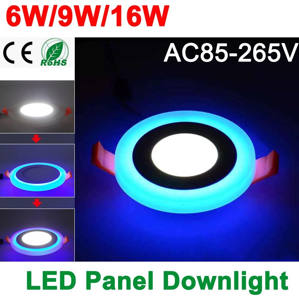 New Design LED Panel Downlight 6W 9W 16W 3 Model LED Panel Light AC85-265V Recessed Ceiling Lamp Aluminum Acrylic Painel Lights(China (Mainland))