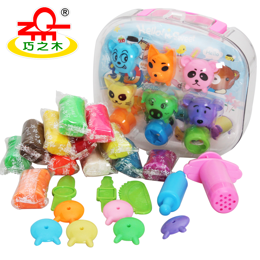 Wood 12 3d colorful dough set animal mould super clay ultra-light clay(China (Mainland))