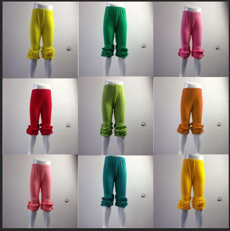 2016 Latest deisgn muliti ruffles capri pants girls soild colorful kids children girls' wholesale Ruffle Icing capri Pants(China (Mainland))