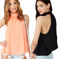 2014 new arrival plus size chiffon shirt European style sleeveless turtleneck solid color loose chiffon blouse