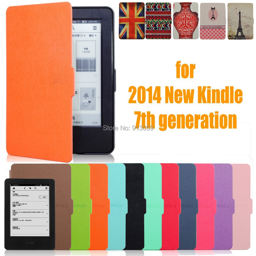 for amazon 2014 new kindle touch screen 7 7th generation 6'' ereader slim protective cover smart case+protecor film+stylus(China (Mainland))
