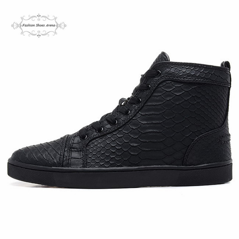 Гаджет  Size:36-46 Black Snake Leather High Top Red Bottom Fashion Sneakers For Man and Women,Unisex Luxury Brand Winter Casual Shoes None Обувь