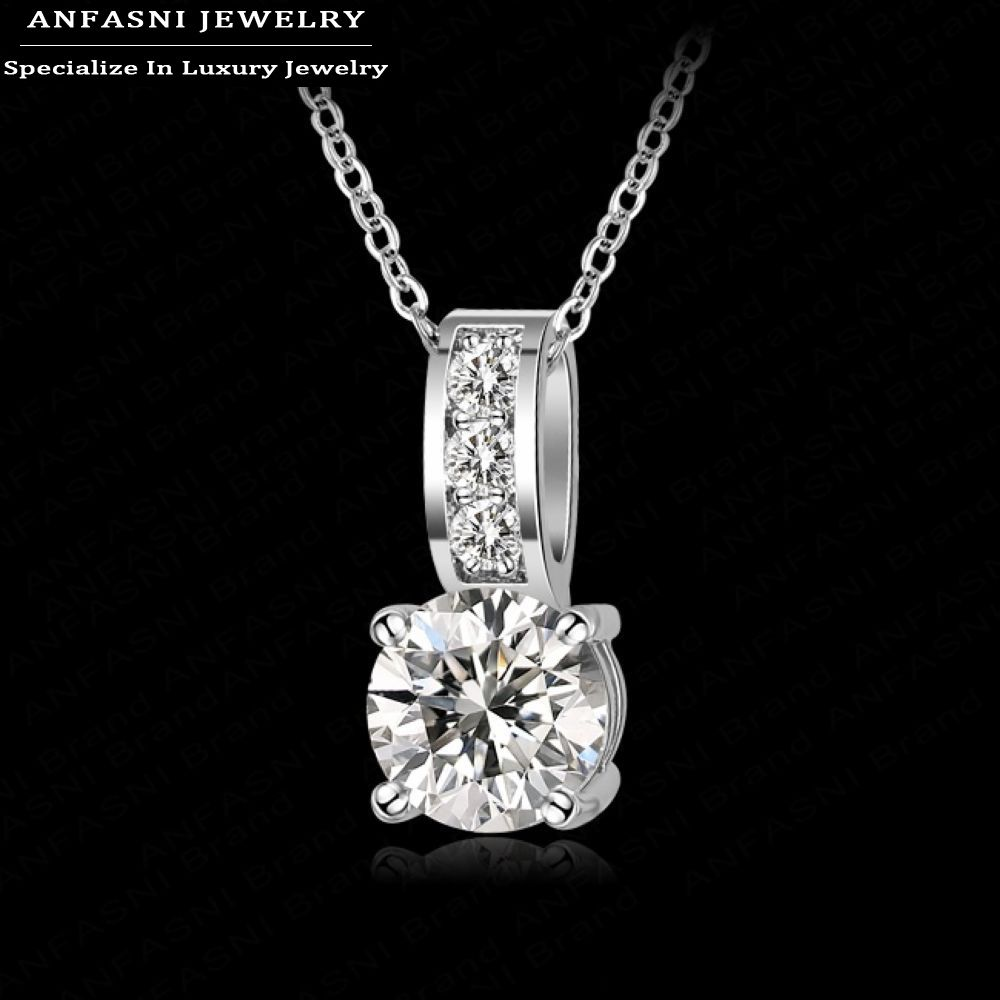 2015 Necklace Fashion Women Jewelry Round Cut Zircon Pendant Necklace Real Platinum Plated Classic Wedding Necklace