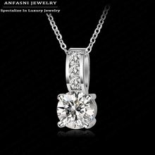 2014 Necklace Fashion Women Jewelry Round Cut Zircon Pendant Necklace Real Platinum Plated Classic Wedding Necklace
