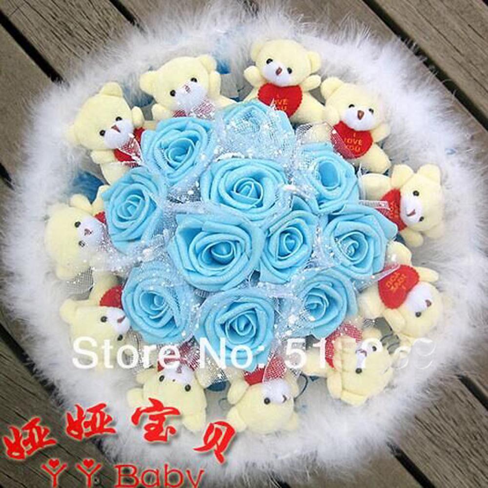 Soft Plush Toy Bouquet 11 Glitter Rose 11 Bear holding heart Cartoon bouquets Valentine/Graduation Gift Bleu Purple Pink y413(China (Mainland))