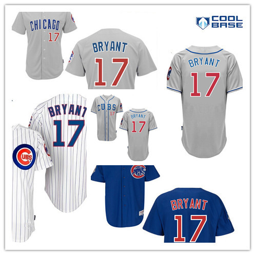 Free Shipping Men's Chicago Cubs #17 Kris Bryant Jersey Home Road Gray White Blue 2015 Cool Base Stitched Baseball Jerseys