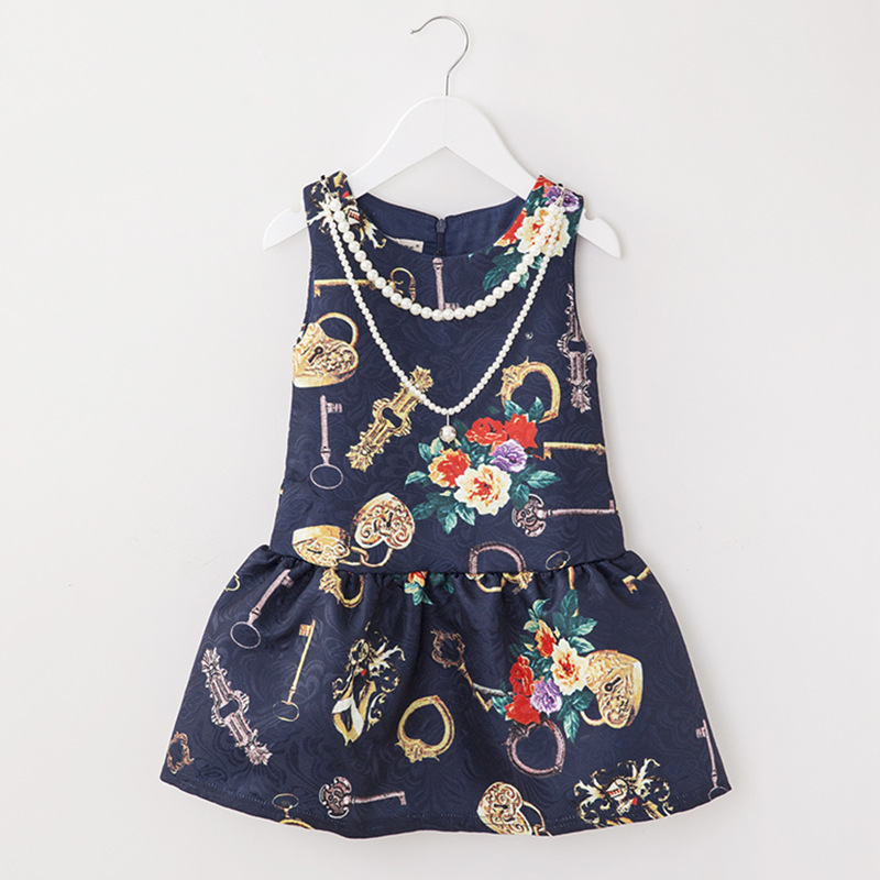 Children's Clothing Dresses Spring and Summer New 2016 European and American Style Printed Small and Medium Girls Dress(China (Mainland))