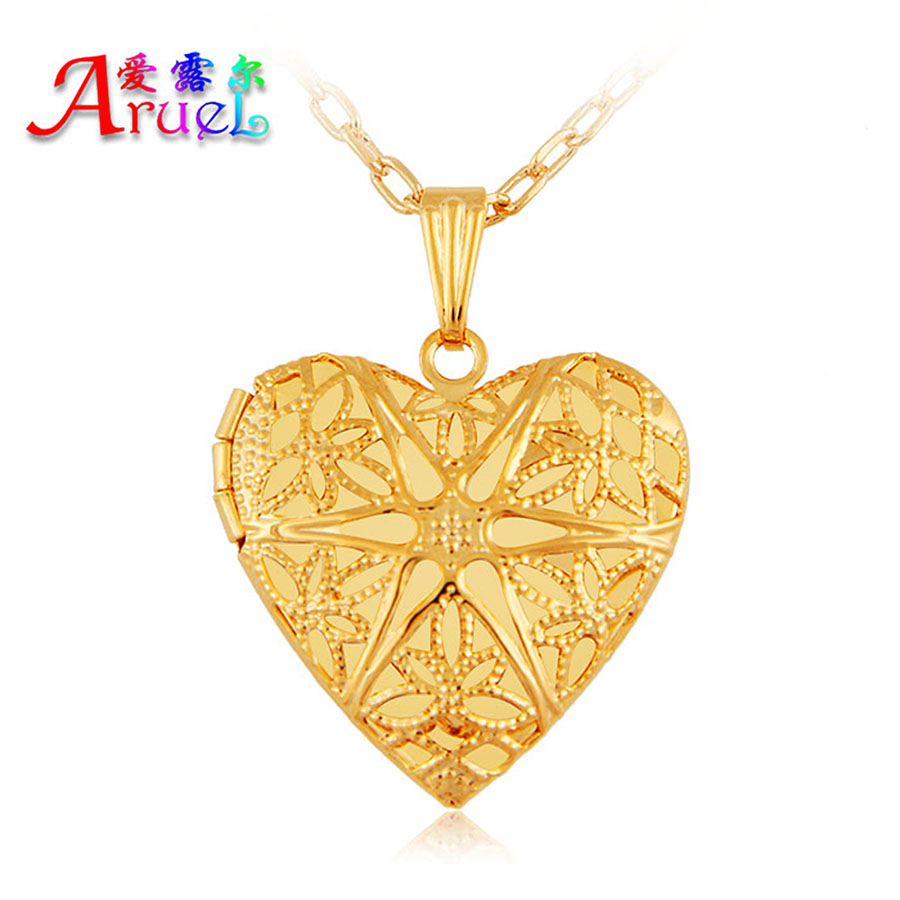 2016 18k gold plated fashion heart classic photo simple pendant necklaces Valentines Gift women girl romantic locket jewelrys(China (Mainland))
