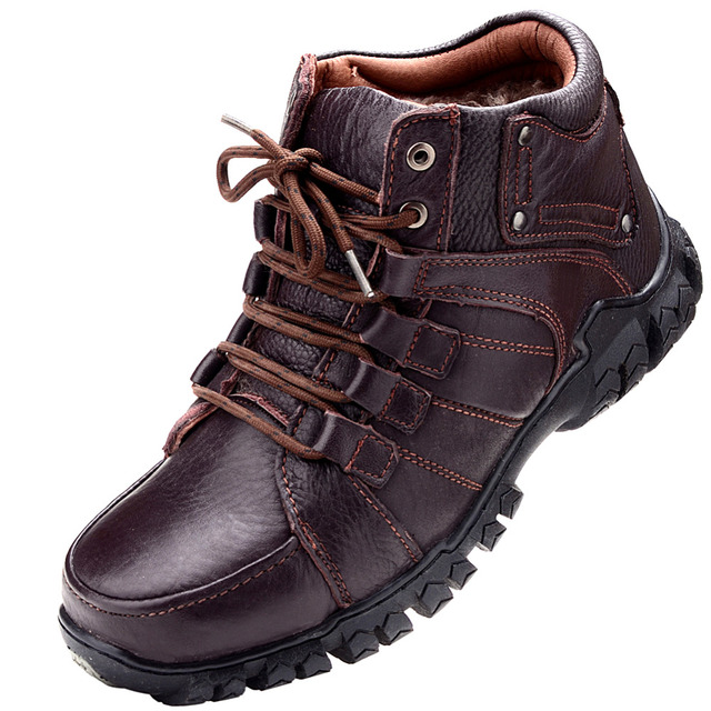2016 Winter Boots New Stylish Men's OutDoor Shoes,Lace-Up Warm Plush Fur Boots Cow Leather Waterproof+Rubber Free Shipping
