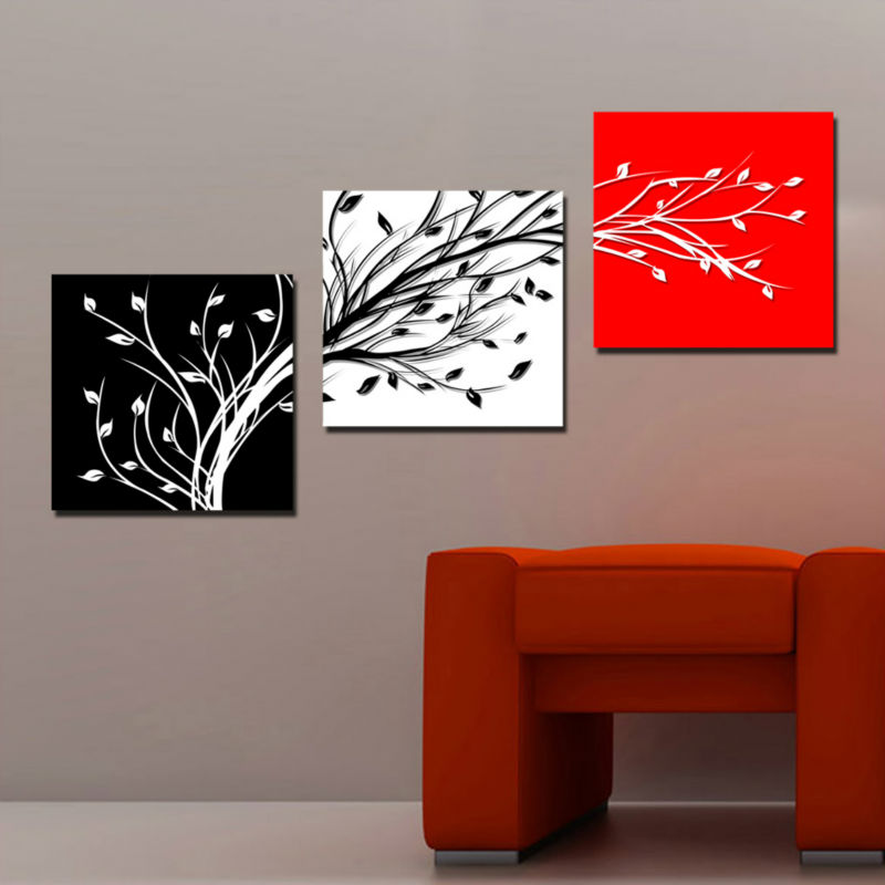 3 Panels Set Black White Tree Branch Oil Painting Canvas Printing Wall Art Picture Home Living Room Office Decoration - AsenArt store