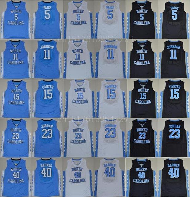 North Carolina College Basketball Jerseys Tar Heels 15 Vince Carter 11 Brice Johnson Jersey 40 Harrison Barnes 5 Marcus Paige(China (Mainland))