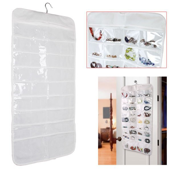 Double sided 72 pockets Hanging Jewelry Organizer Display Earring Rings Necklace Bracelets Holder Storage Bag with hanger(China (Mainland))
