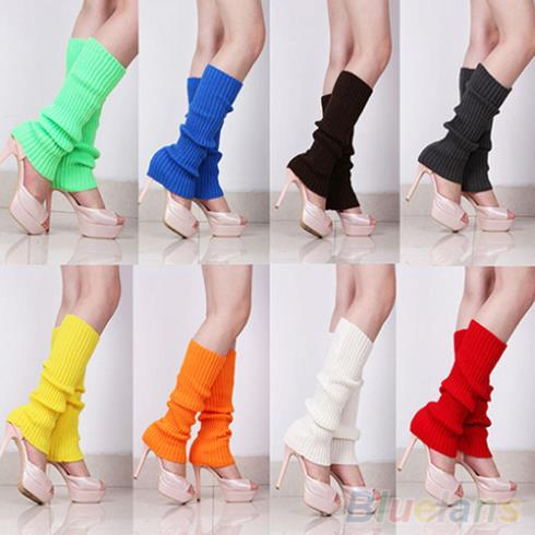 Women Solid Color Knit Winter Leg Warmers Knee High Boot Socks 1Q94 2U1G