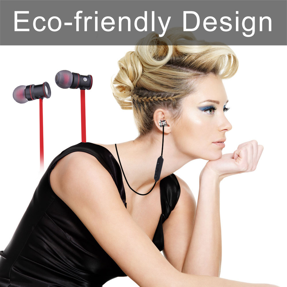 ECandy Professional In-Ear Earphones Stereo Sound Bluetooth Earphone Metal Magnet Attraction Sweatproof Sports Earbuds