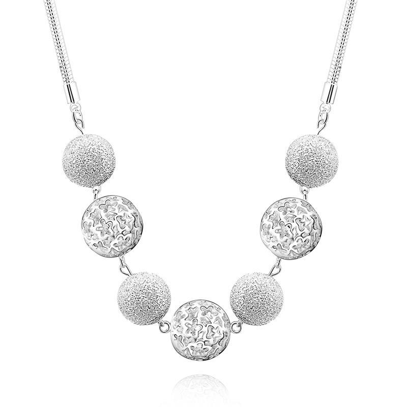 Мода Новый стиль 18 дюймов высокое качество 925 серебряный бисера мяч полый колье ожерелье Высокое качество колье цепь jn132 18 925 925 4 18 n1