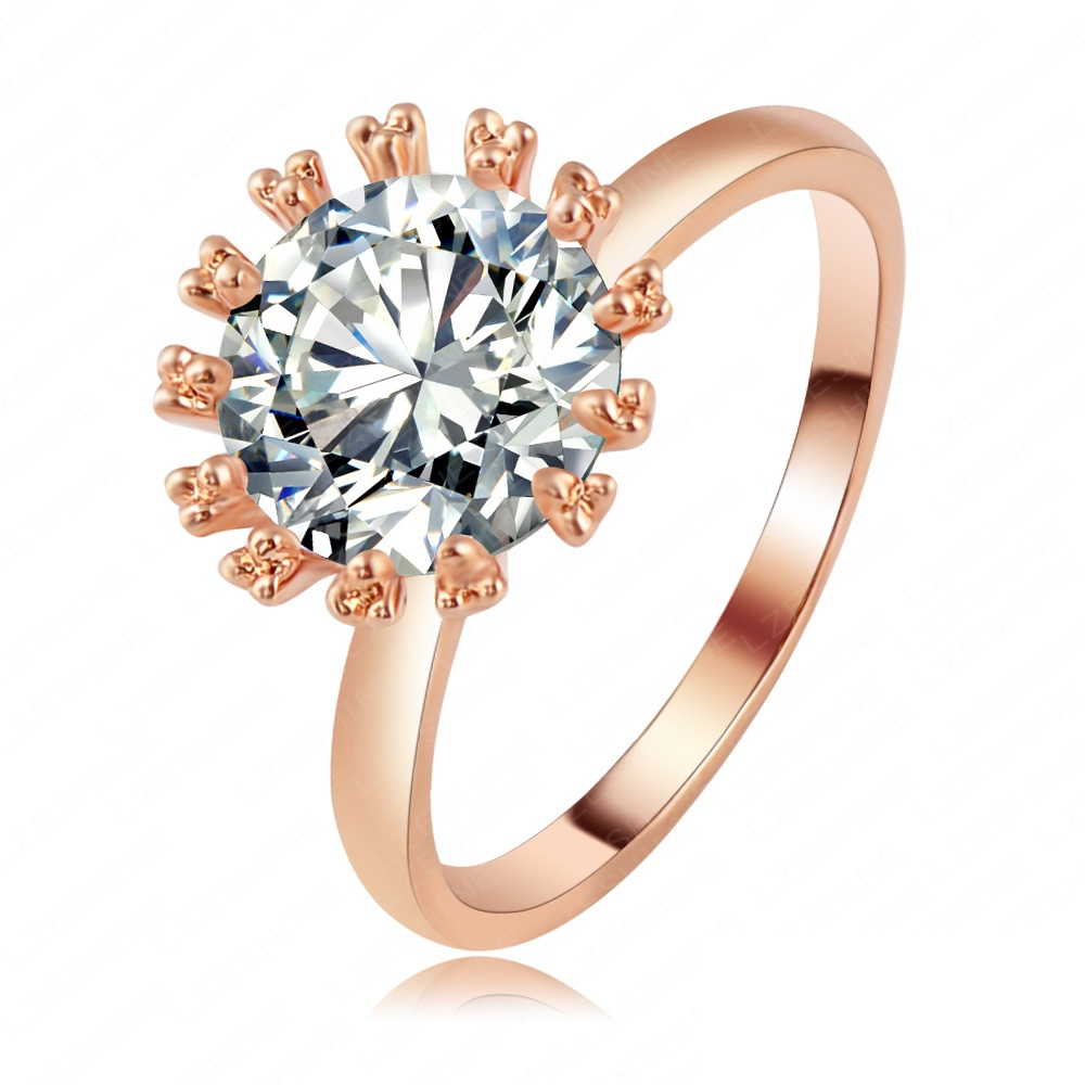 LZESHINE Brand Love Forever Engagement Ring Real 18K Rose Gold Plated SWA Elements Austrian Crystal Rings For Women Ri-HQ1105-A(China (Mainland))