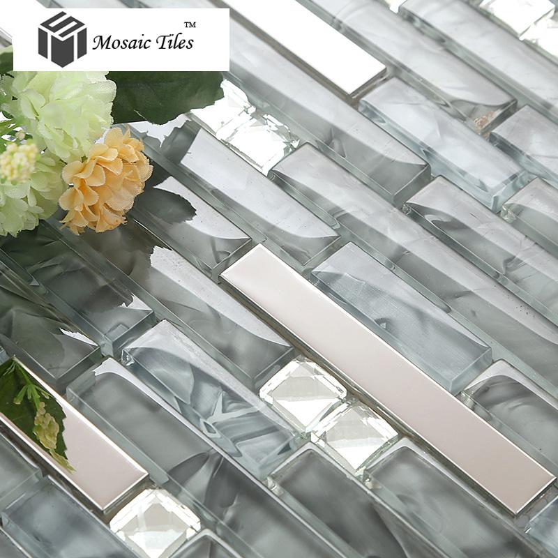 Free shipping glass tile grey ice crystal strip interlocking backsplash wall tiles fireplace deco mesh art mosaic tile 11SF/lot<br><br>Aliexpress