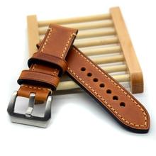 Hecho a mano de cuero fino alta calidad correa de reloj y banda para P reloj 20 mm 22 mm 24 mm 26 mm con hebilla de acero inoxidable(China (Mainland))