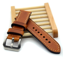 Hand made high quality fine  Italian leather watch strap &band  for Panerai watch 20mm  22mm 24mm with stainless steel buckle