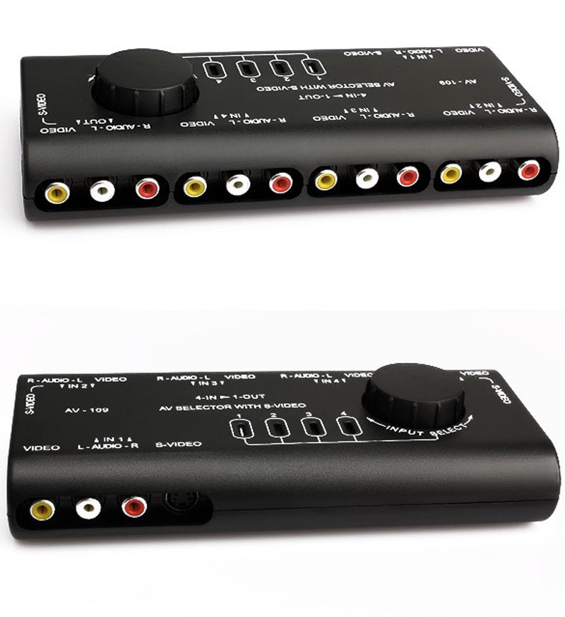 Practical Audio Video Switch AV Audio Video Signal Switcher 4 Input 1 Output Switch for TV game player(China (Mainland))
