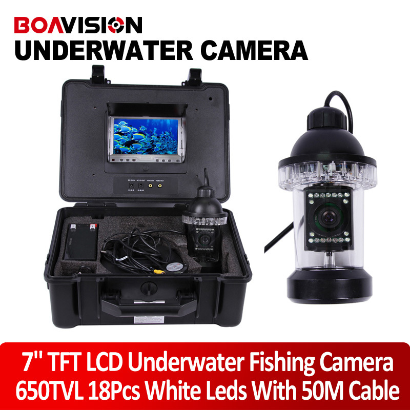 "1/3 SONY CCD Effio-E 650TVL Underwater Fishing Camera Fish Finder 7"" TFT LCD Monitor 50M Cable 18Pcs White LED Rotate 360 Degree(China (Mainland))"
