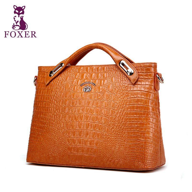 Фотография FOXER famous brands genuine leather bag new British cowhide women bag fashion trend portable shoulder women messenger bags