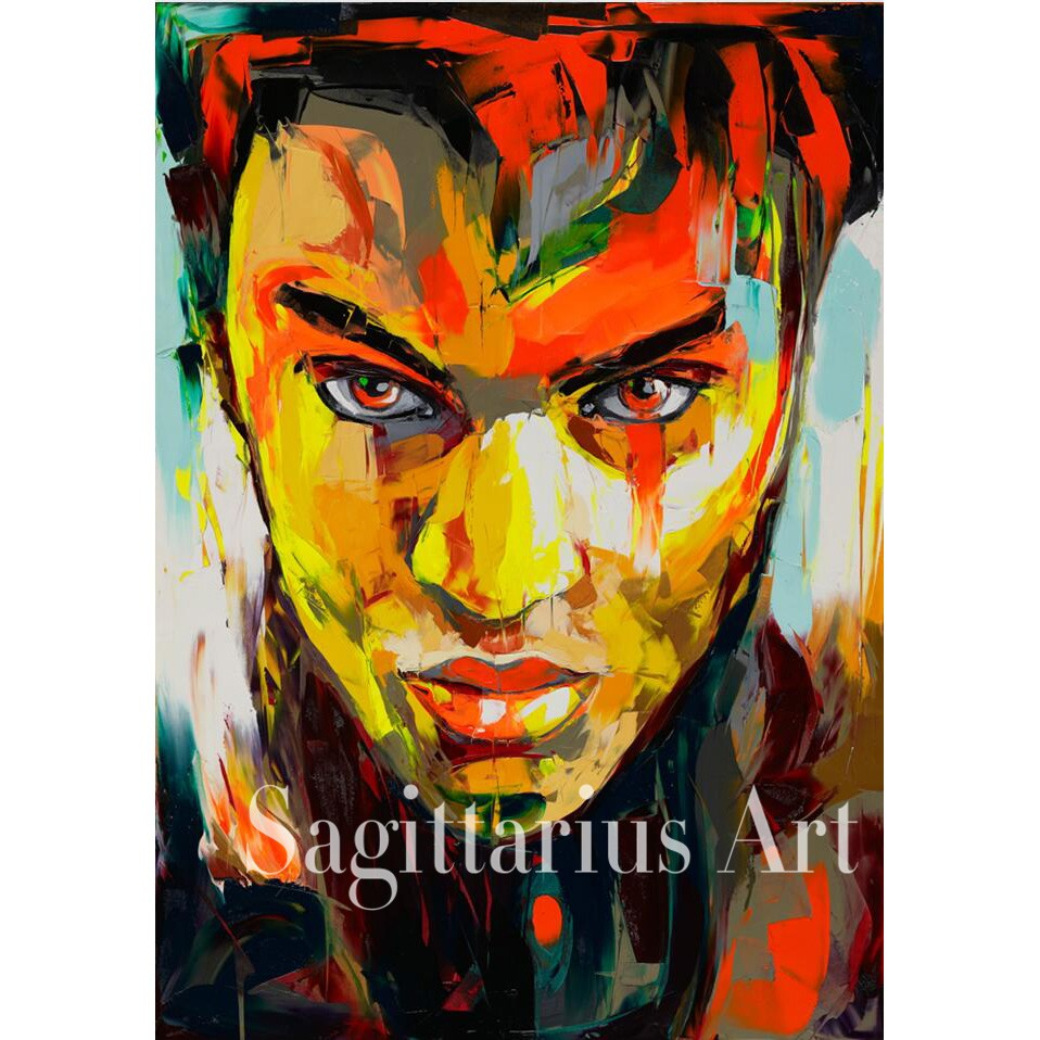 Buy Hand Painted Palette knife Abstract Francoise Nielly Designer Untitled 595 Oil Painting Canvas Cool Face Bedroom Fine Artwork cheap