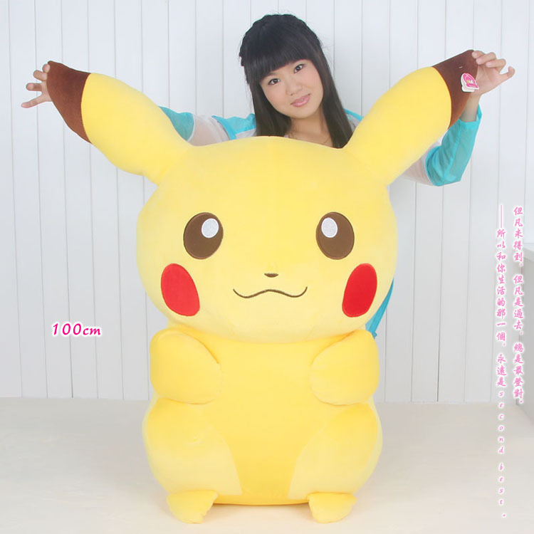 stuffed animal huge 100cm Pokemon Pikachu plush toy doll ,Christmas gift w5898(China (Mainland))