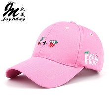 2016 New Arrival Spring Leisure Fresh Fruit Embroidery Hat Strawberry Banana Cherry Orange Peach Baseball Cap For Women B291(China (Mainland))
