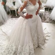 Buy Vintage Mermaid Long Sleeve Lace Wedding Dress 2017 Sexy Muslim Vestido De Noiva Detachable Train Cheap Wedding Bridal Gowns for $217.89 in AliExpress store
